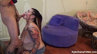 Amateur BBW slut doing a perfect blowjob