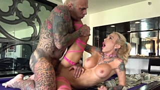 Curvy blonde MILF rides cock at the hotel room